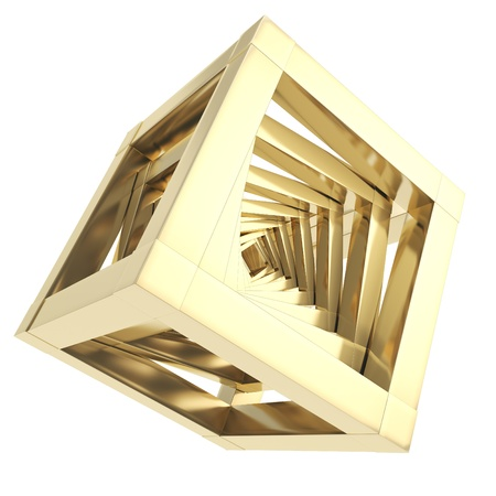 Abstract golden metal glossy cube composition backdrop isolated on white background photo