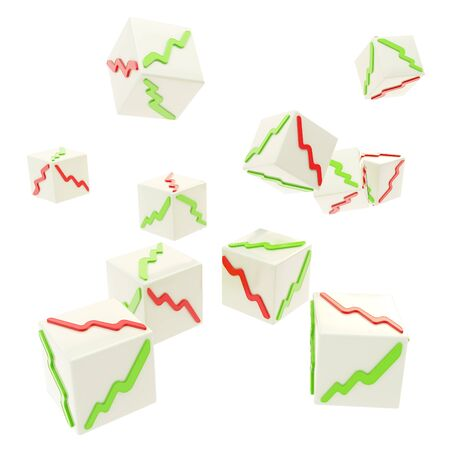 falling cubes: Stock market random behavior concept as falling cubes with positive and negative graphs on faces isolated on white background