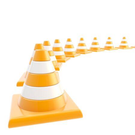 roadworks: Roadworks orange cone composition over white as copyspace background Stock Photo
