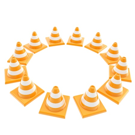 pay attention: Pay attention concept  roadworks orange cone copyspace round frame isolated on white background