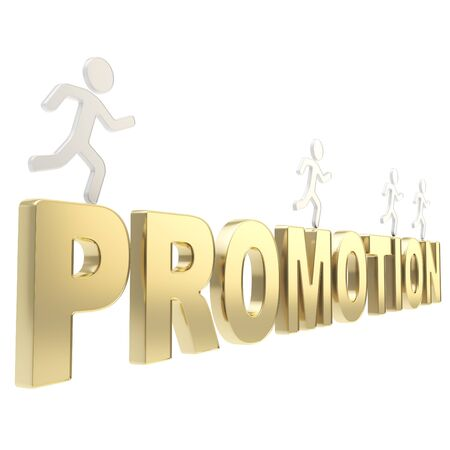 Compete for promotion  group of human symbolic figures running over the golden word isolated on white background Stock Photo - 17226462