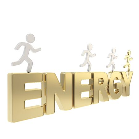 Energy conception  group of human symbolic figures running over the golden word isolated on white background Stock Photo - 17226417