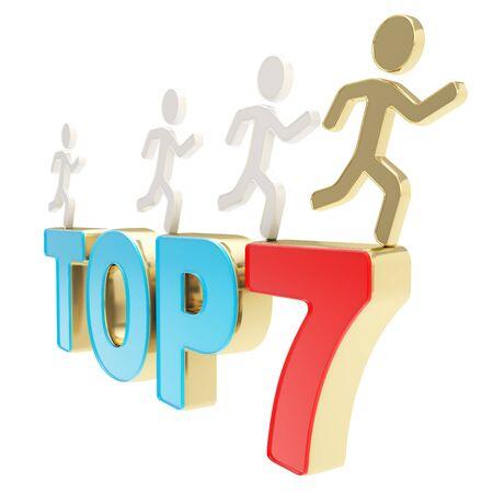 top 7: Top siete l�deres de grupo ilustraci�n de figuras simb�licas humanos que ejecutan sobre el rojo y el azul Top-7 composici�n aislada en el fondo blanco