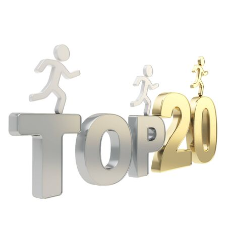 Top twenty leaders illustration  group of human symbolic figures running over golden and chrome metal Top-20 composition isolated on white background Stock Illustration - 17226466