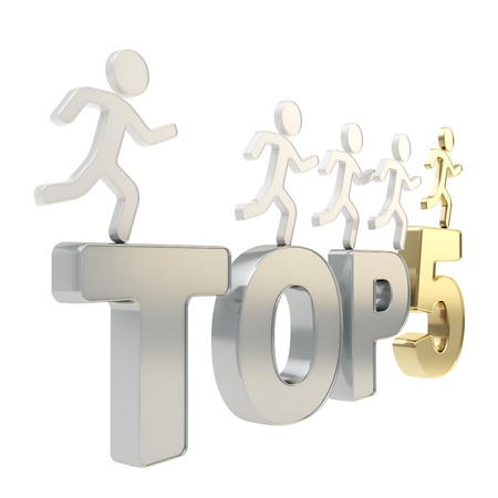 metal composition: Top five leaders illustration  group of human symbolic figures running over chrome metal Top-5 composition isolated on white background Stock Photo