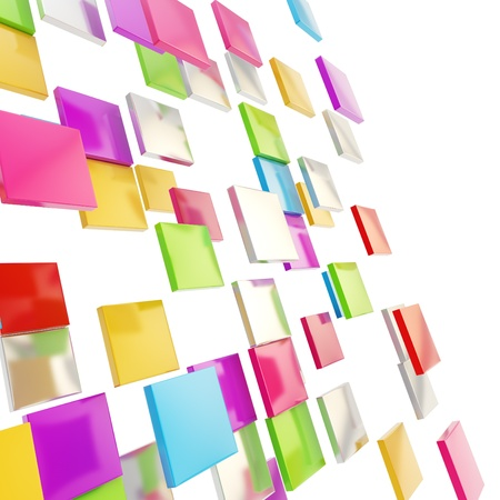 Abstract background perspective copyspace backdrop made of colorful glossy and metal square plates over white