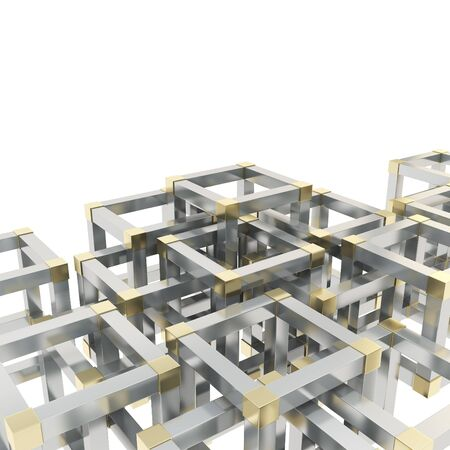 Abstract background made of chrome metal and golden cube fragments on white Stock Photo - 17227049