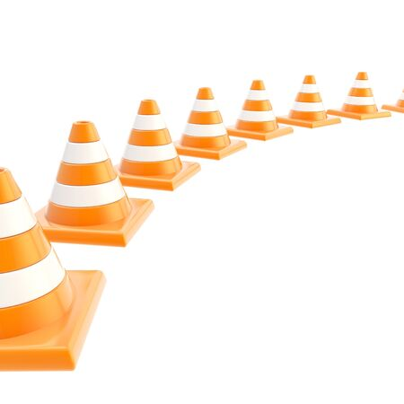 Roadworks orange cone composition over white as copyspace background Stock Photo - 17226363