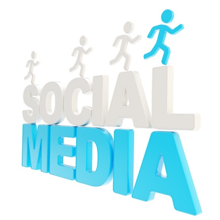 smm: Social Media competition conception  group of human symbolic figures running over the blue word isolated on white background Stock Photo
