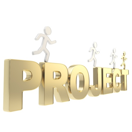 Project deadline conception  group of human symbolic figures running over the golden word isolated on white background Stock Photo - 19797652