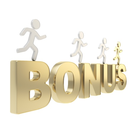 surplus: Compete for your bonuses conception  group of human symbolic figures running over the golden word Bonus isolated on white background Stock Photo