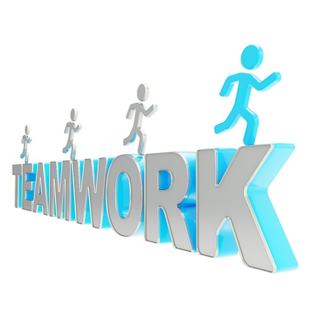Teamwork conception  group of human symbolic figures running over the blue word isolated on white background photo