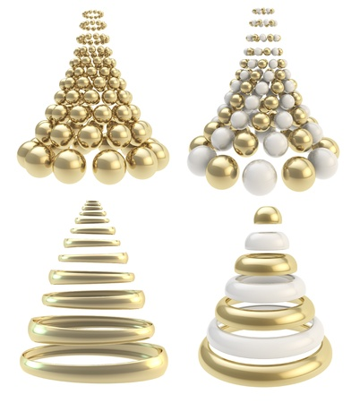 Abstract christmas tree made of golden spheres and rings isolated over white, set of four collection photo