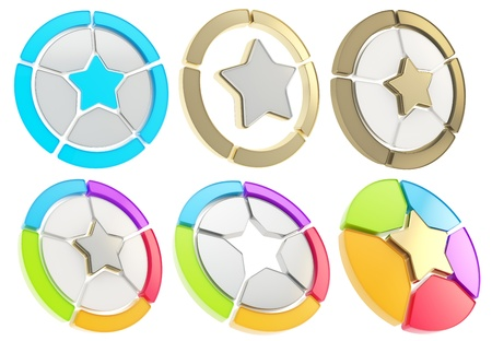 sector: Star icon emblem as a five sector diagram isolated over white, set of six