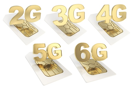 3g: 2g, 3g, 4g, 5g, 6g circuit microchip SIM card emblem isolated over white background