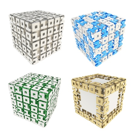 Computer science and cybernetics  dimensional cube made of ones and zeros isolated on white, set of four photo
