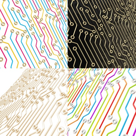 microcircuit: Microcircuit chip dimensional scheme as technology and science abstract background, set of four