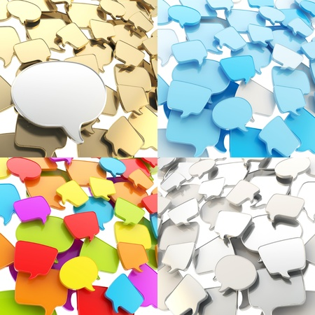 Group of plastic speech text bubbles randomly placed as abstract copyspace business communication background, set of four photo