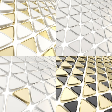 Triangle cell abstract geometrical background, set of four photo