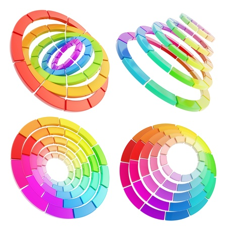 color range: Color range spectrum circle round palette made of dimensional glossy plastic pieces isolated over white background, set of four