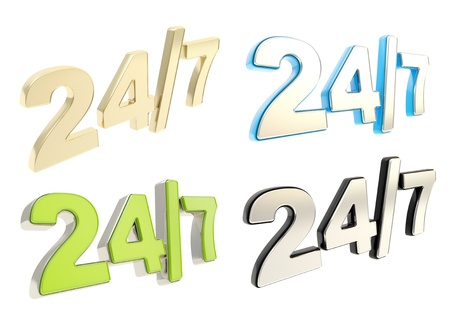 24 7 twenty four hour seven days a week glossy emblem icon isolated over white background, set of four photo