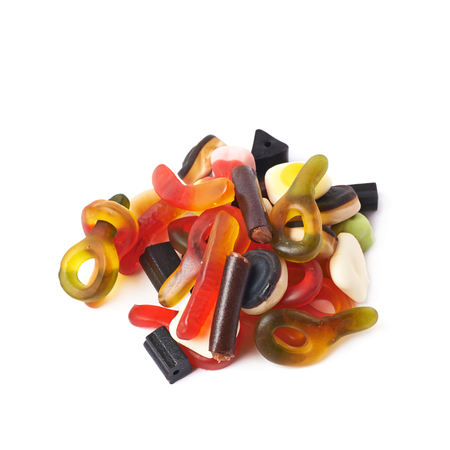 gelatin: Pile of multiple colorful gelatin and licorice based candies isolated over the white background Stock Photo