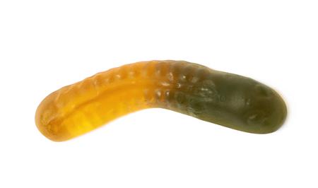 gelatina: Caramelo en forma de gelatina gummi basada gusano aislados sobre el fondo blanco