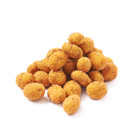 Pile of spicy flavour crunchy coated nuts isolated over the white background