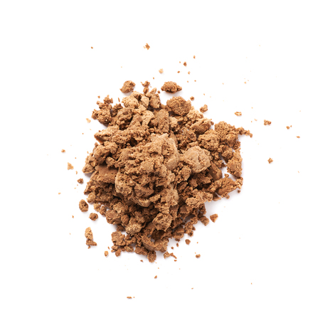 praline: Pile of chocolate praline candy crumbles isolated over the white background