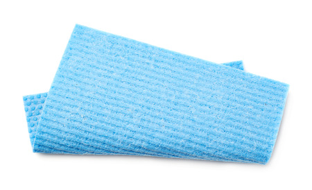 protective: Blue bent kitchen wipe square cloth isolated over the white background
