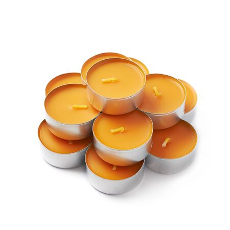 paraffin: Pile of tealight paraffin wax orange candles isolated over the white background