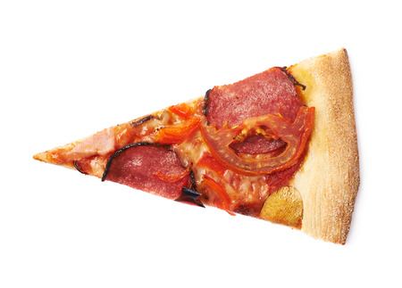 eating pizza: Single piece of pepperoni pizza isolated over the white background Stock Photo