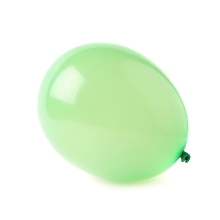 inflated: Inflated green rubber air balloon isolated over the white background