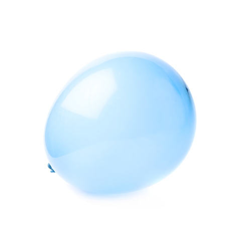 inflated: Inflated blue rubber air balloon isolated over the white background Stock Photo