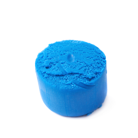 childs play clay: Piece of a blue modelling clay isolated over the white background Stock Photo