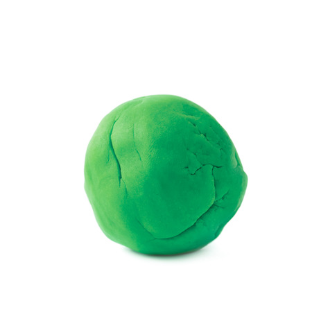 modelling: Piece of a green modelling clay isolated over the white background