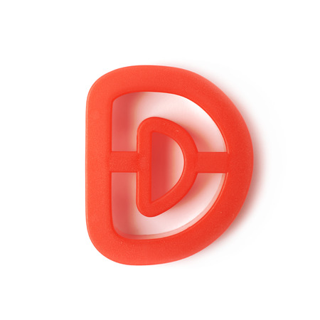 d: Single plastic D letter form isolated over the white background Stock Photo