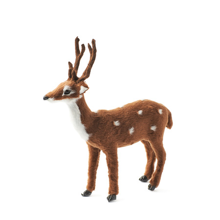 fawn: Toy roe deer fawn figurine isolated over the white background Stock Photo