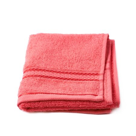terry: Single red terry cloth towel isolated over the white background