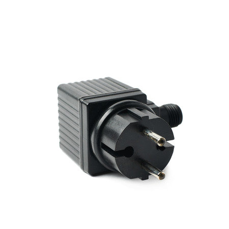 electrify: Black plastic electric adapter isolated over the white background