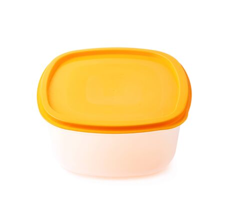 Single orange plastic food container isolated over the white background