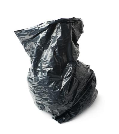 Cerrado Plástico Basura Bolsa Negro Aislado Nudo Atado En De Y Un Sqx1BwSF