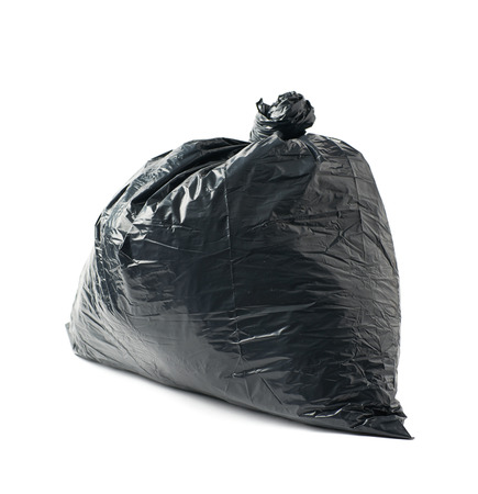 black plastic garbage bag: Closed and tied in a knot black plastic garbage bag isolated over the white background Stock Photo