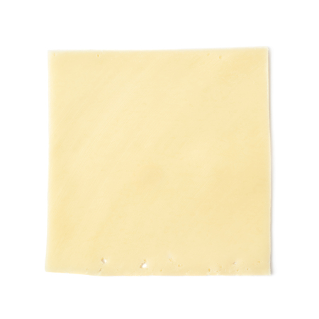 Single rectangle shaped slice of cheese isolated over the white background