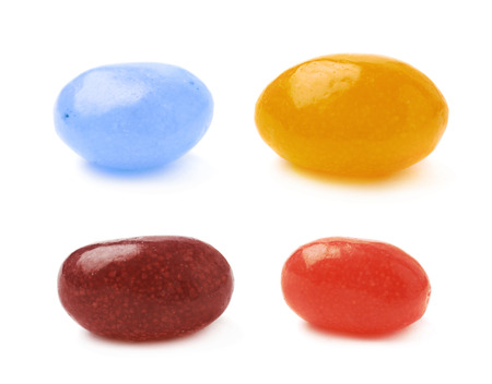 jellybean: Single jelly bean candy isolated over the white background, set of four different foreshortenings Stock Photo