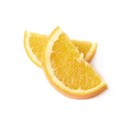 sweet segments: Slice of an orange fruit isolated over the white background Stock Photo