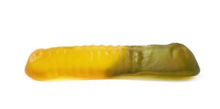 gummi: Gelatin based gummi worm shaped candy isolated over the white background Stock Photo