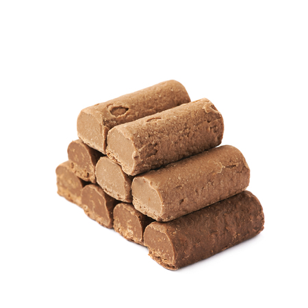 praline: Pile of chocolate praline candies isolated over the white background