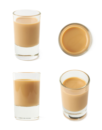 shot: Shot of cream liqueur isolated over the white background, set of four different foreshortenings