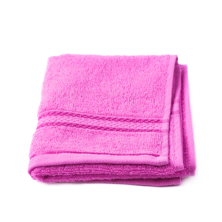 Single purple pink terry cloth towel isolated over the white background